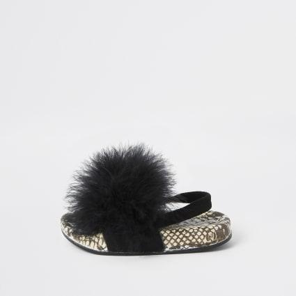 Mini girls black snake feather sliders