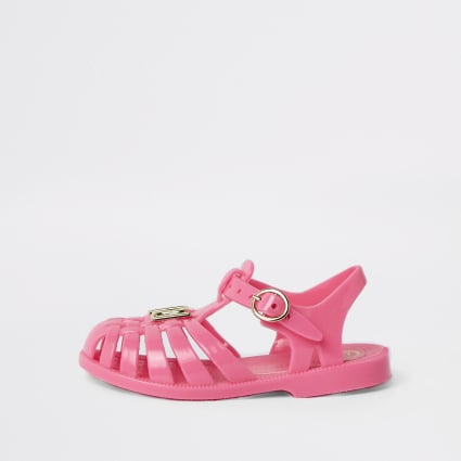 Mini girls neon pink caged jelly sandals