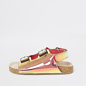 Mini - Roze iriserende slippers met kurk voor meisjes