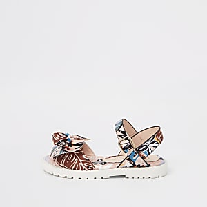 Mini girls pink tropical print chunky sandals