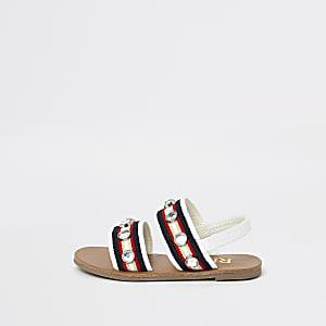 Mini girls white diamante flat sandals