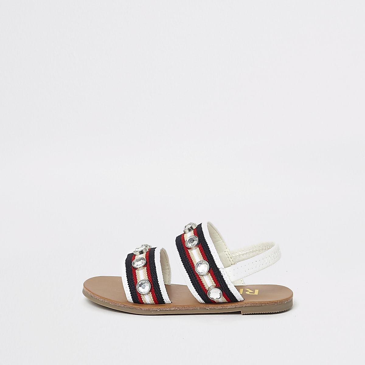 Mini Girls Sandals Diamante Flat White NkXP08nwO