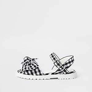 Sandales épaisses blanches à nœud motif vichy mini fille