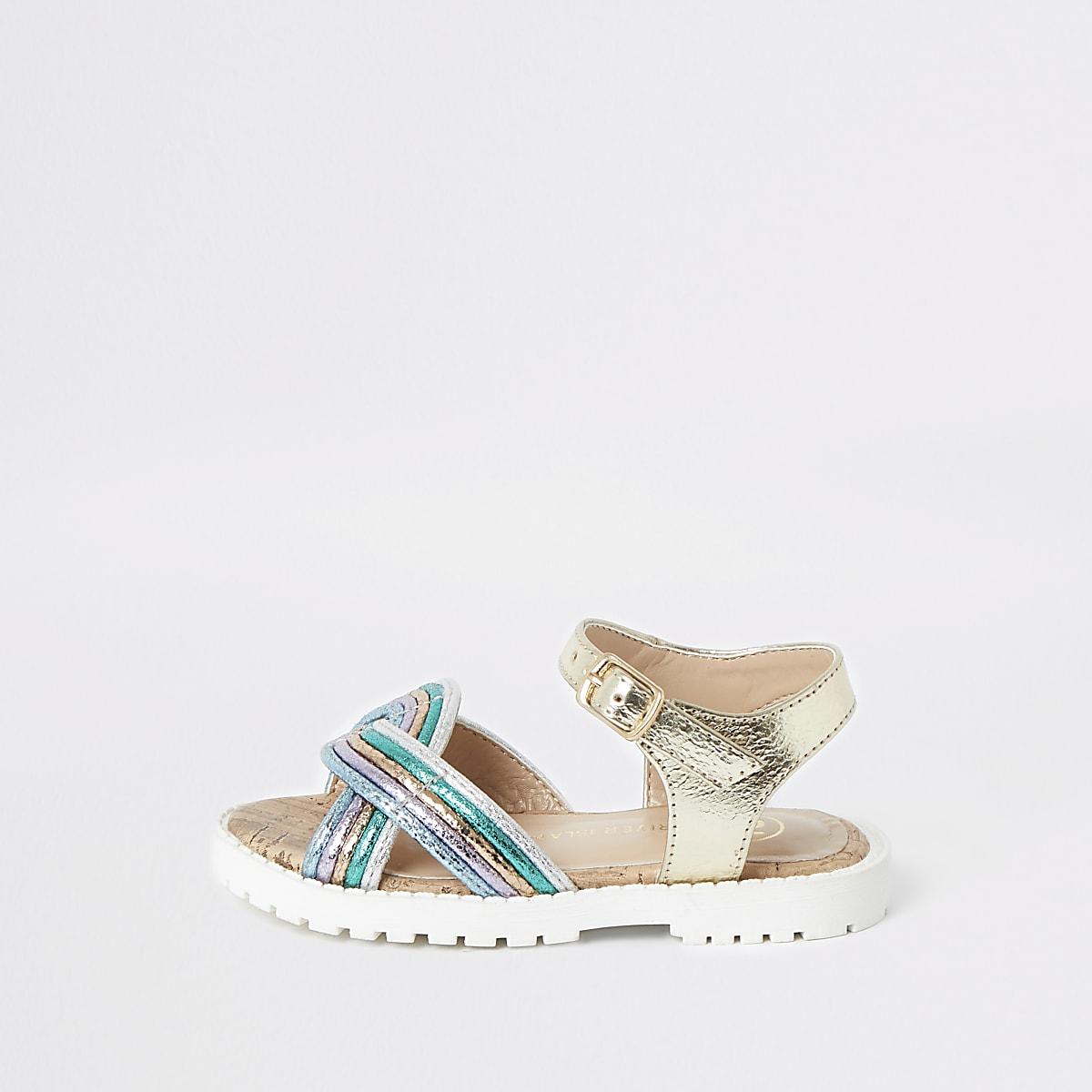 Girls gold metallic sandals