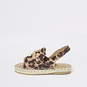 Mini - Sandalen met espadrillerand en luipaardprint voor meisjes