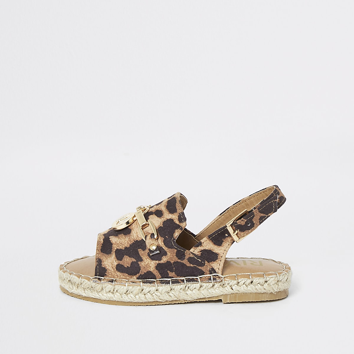 Mini girls leopard espadrille trim sandals