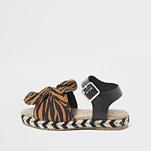 Sandales imprimé zèbre orange mini fille