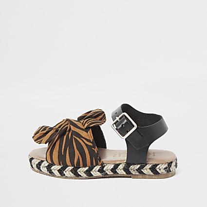 Mini girls orange zebra print sandals