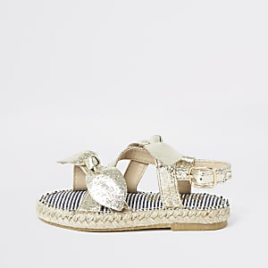 Mini girls gold bow espadrille sandals