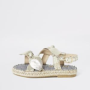 Sandales dorées nouées façon espadrilles pour mini fille