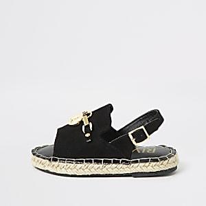 Sandales noires à bride arrière et semelle espadrille mini fille
