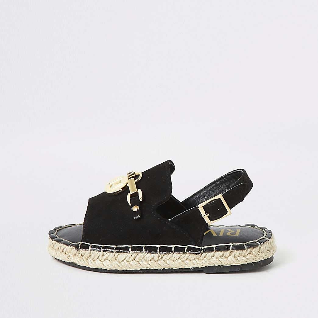 Mini girls black sling back espadrille sandal