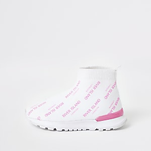 Mini girls white RI sock sneakers