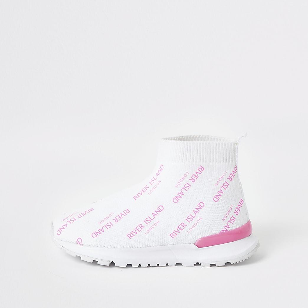 Mini girls white RI sock trainers