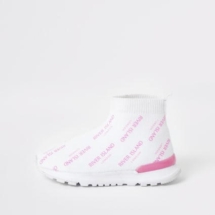 Mini girls white RI sock trainers