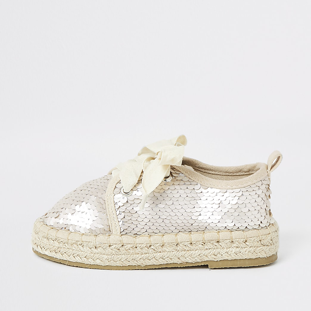 Mini girls cream sequin espadrille plimsolls