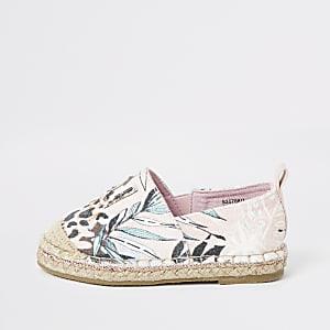 Mini girls pink print espadrille plimsolls