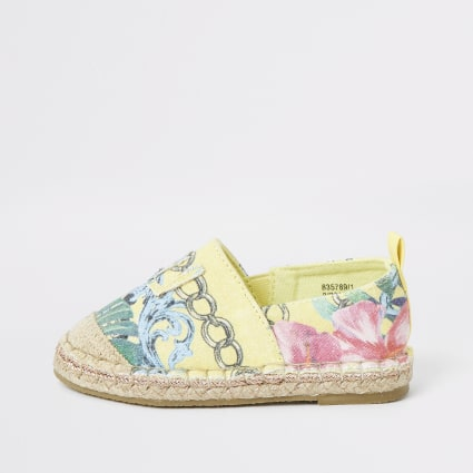 Mini girls yellow printed espdarille plimsoll