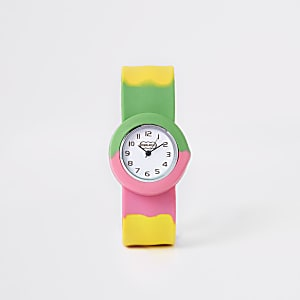 Girls pink multicolored snap on watch
