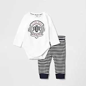 Outfit met marineblauwe gestreepte joggingbroek voor baby's