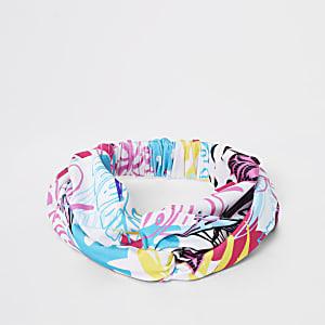 Witte zwemhaarband met tropische print voor meisjes