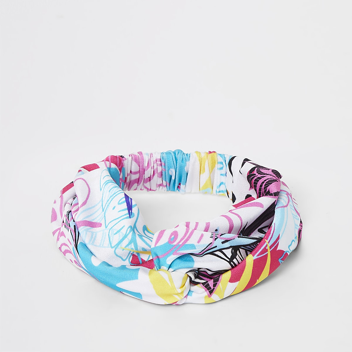 Girls white tropical swim headband