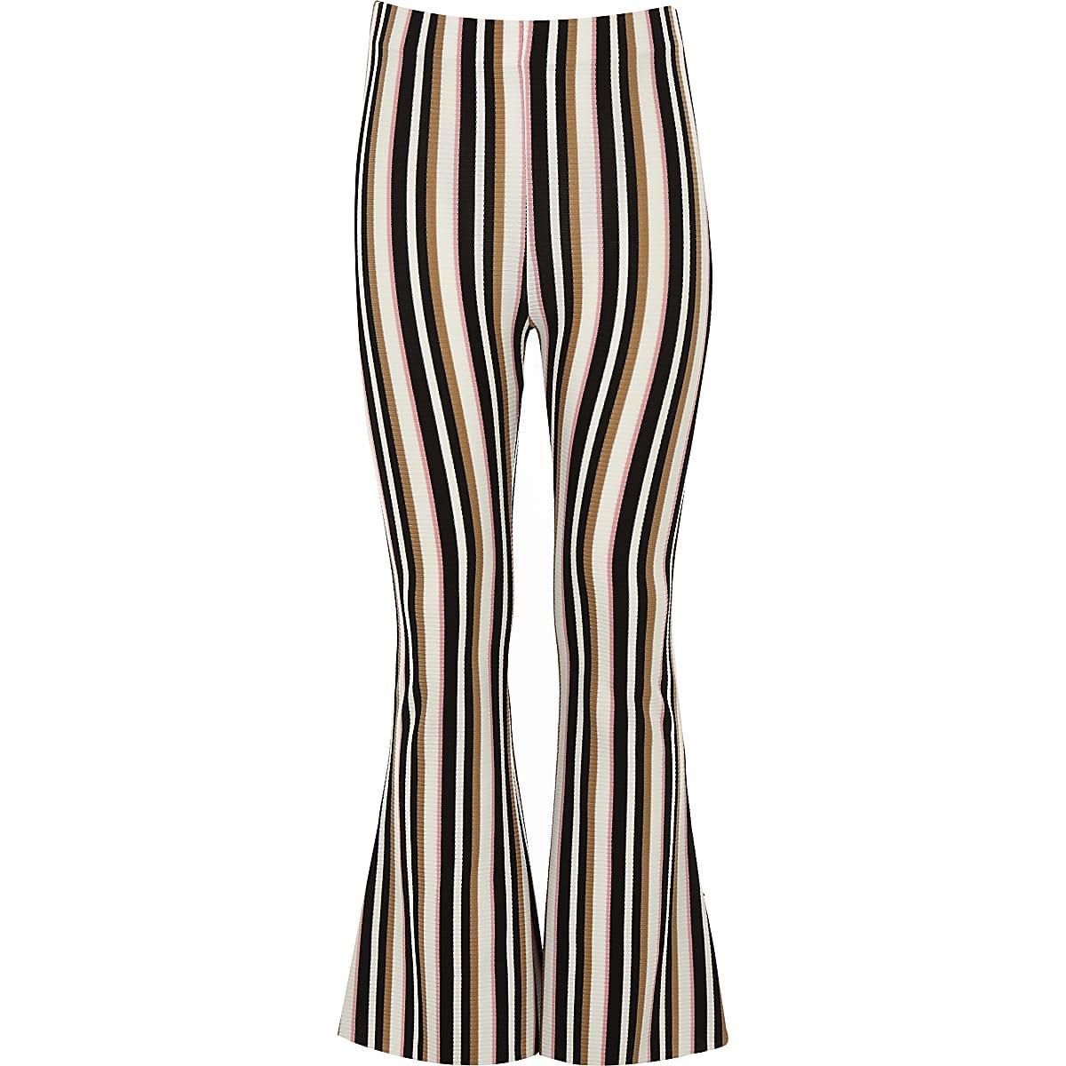 Girls cream stripe flared pant