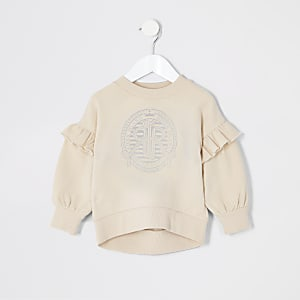Mini girls cream RI frill sweatshirt
