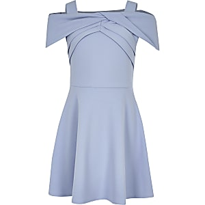 Girls blue bow bardot skater dress