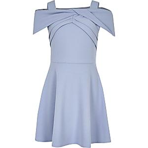 Robe patineuse Bardot bleue nouée pour fille