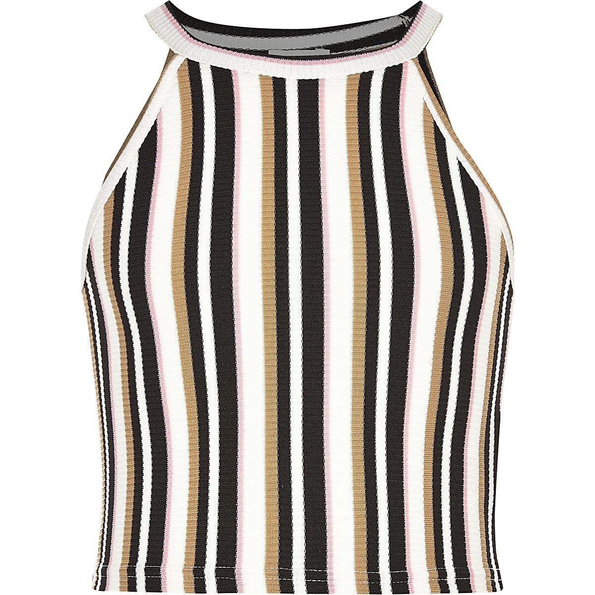 Girls cream stripe crop top