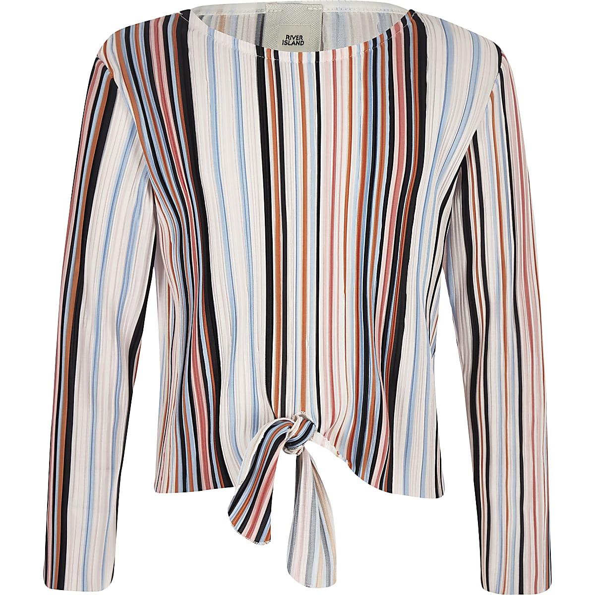 Girls pink stripe plisse tie front top
