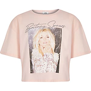Girls light pink Britney Spears crop T-shirt