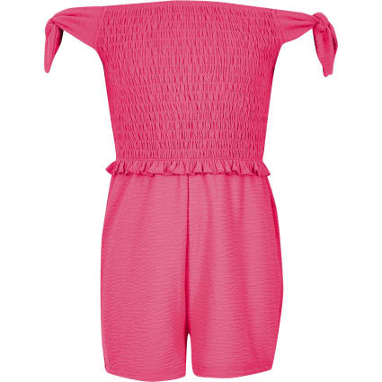 Girls neon pink shirred bardot playsuit