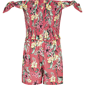 Girls tropical print shirred bardot playsuit