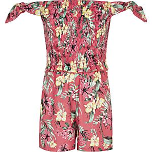 7e9516c30cf Girls tropical print shirred bardot playsuit