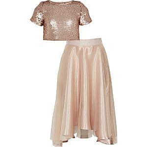 Tenue or rose avec jupe en organzaet topà sequins pour fille