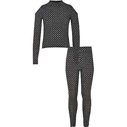 Girls black RI cold shoulder top outfit