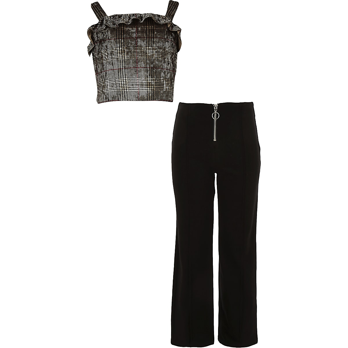 Girls brown check top and trouser outfit