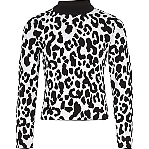 Girls white leopard print sweater
