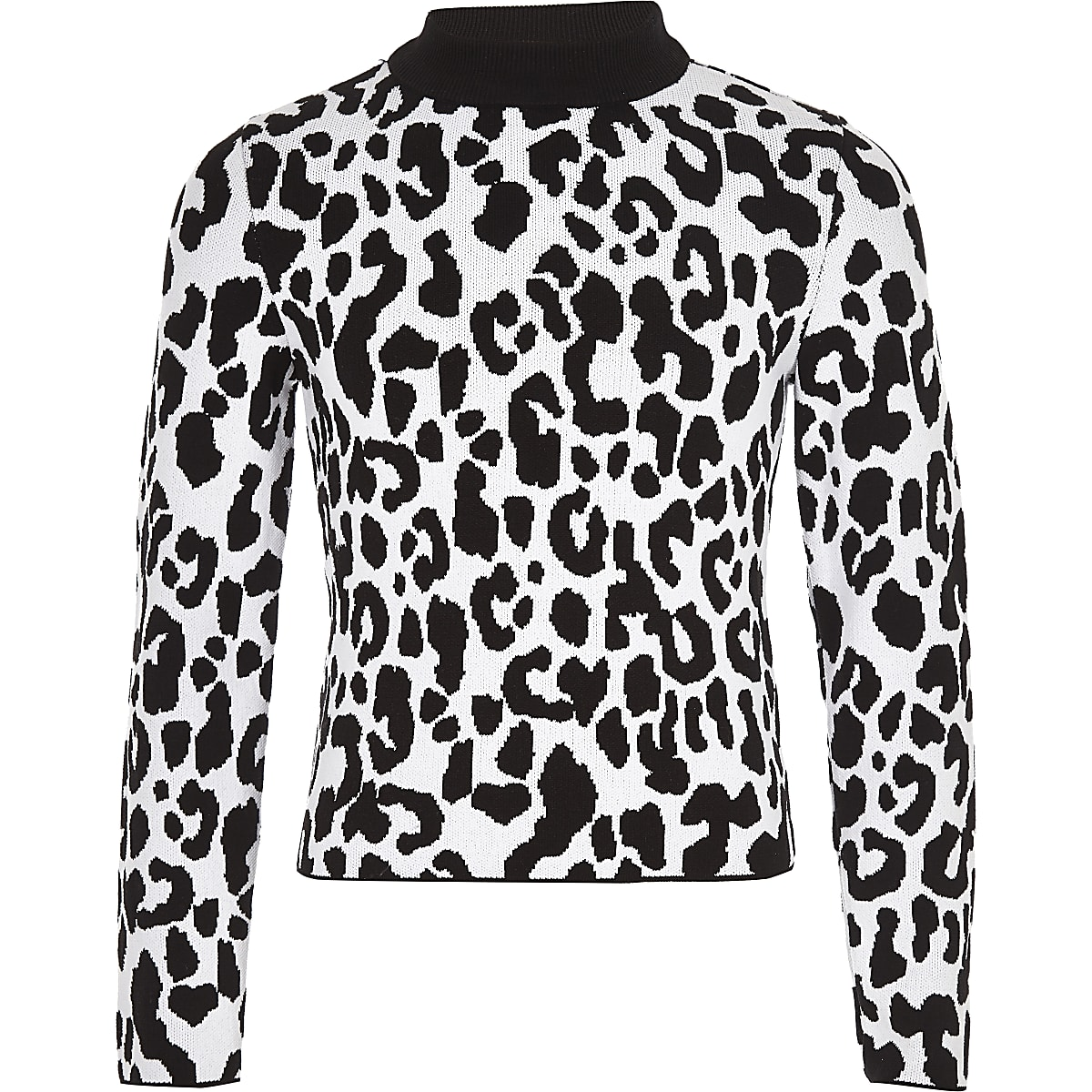 Girls white leopard print jumper