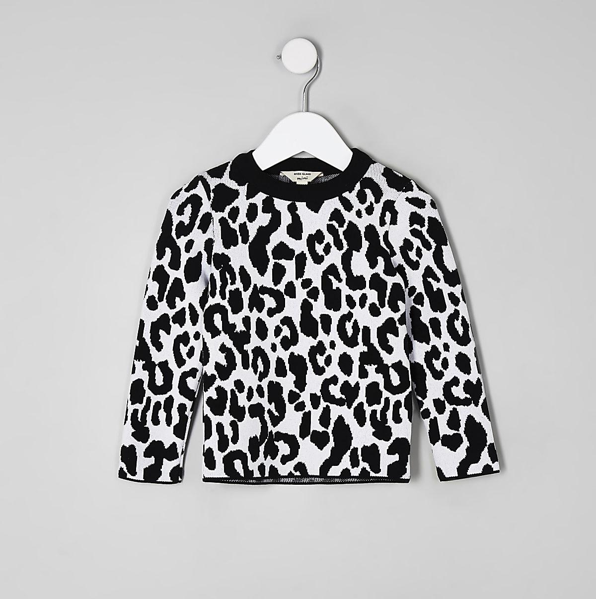 Mini girls white leopard print jumper