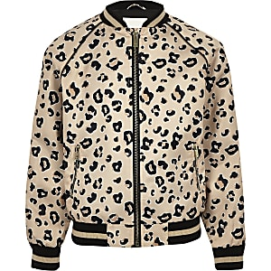 Blouson imprimé léopard beige pour fille