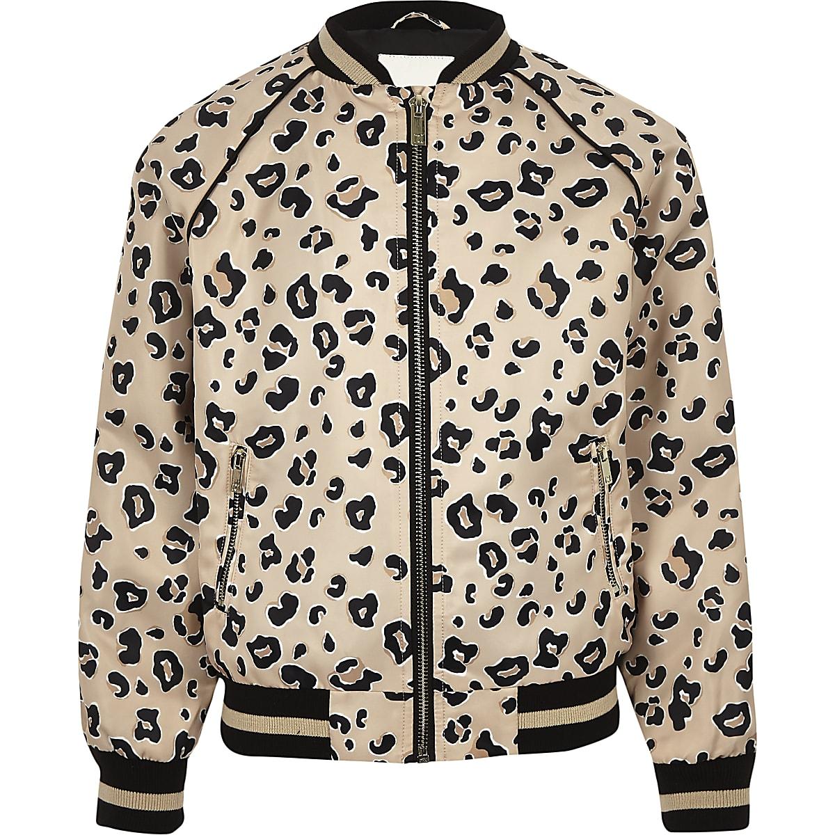 ca2177de0 Girls beige leopard print bomber jacket