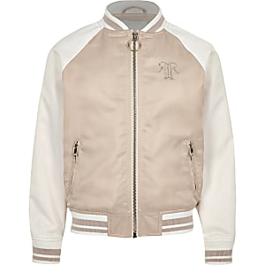 Blouson en satin rose colour block pour fille