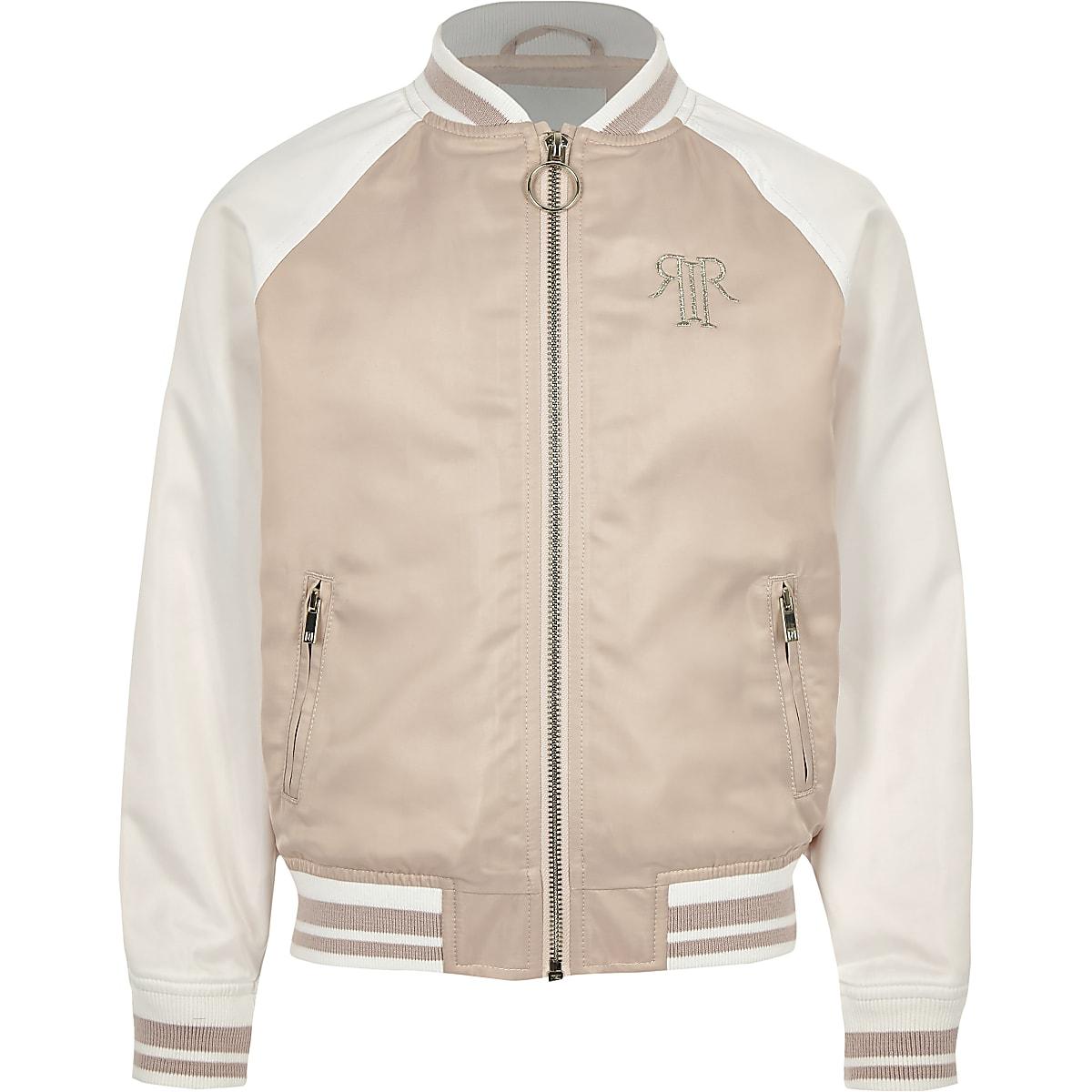 Girls pink block satin bomber jacket