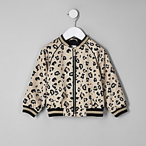 Mini girls beige leopard print bomber jacket