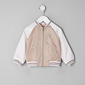 Mini girls pink block satin bomber jacket
