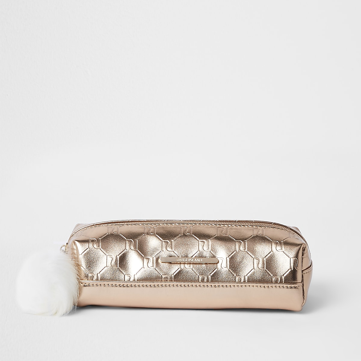 Girls rose gold RI monogram pencil case