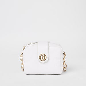 Girls white RI monogram cross body bag